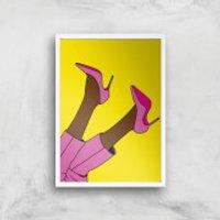 Pink Heels Lifted Giclée Art Print - A3 - White Frame - Heels Gifts