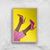 Pink Heels Lifted Giclée Art Print - A2 - Wooden Frame - Heels Gifts