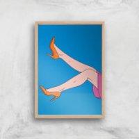 Orange Heels Lifted Giclée Art Print - A4 - Wooden Frame - Heels Gifts