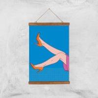 Orange Heels Lifted Giclée Art Print - A3 - Wooden Hanger - Heels Gifts
