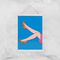 Orange Heels Lifted Giclée Art Print - A3 - White Hanger - Heels Gifts