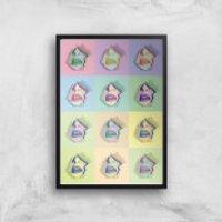 Multi Colour Sexy Lips Break Through Giclée Art Print - A4 - Black Frame - Sexy Gifts