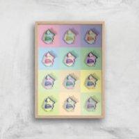 Multi Colour Sexy Lips Break Through Giclée Art Print - A3 - Wooden Frame - Sexy Gifts