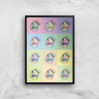 Multi Colour Sexy Lips Break Through Giclée Art Print - A3 - Black Frame - Sexy Gifts