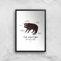 The Anatomy Of Cat Love Art Print - A4 - Black Frame - Cat Gifts