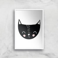 Cat Art Print - A4 - White Frame - Cat Gifts