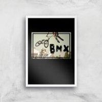 BMX Jump Art Print - A4 - White Frame - Bmx Gifts