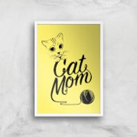 Cat Mom Art Print - A4 - White Frame - Cat Gifts
