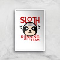 Sloth Running Team Art Print - A4 - White Frame - Athletics Gifts