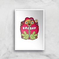 Hippie Psychedelic Cartoon Art Print - A4 - White Frame - Hippie Gifts