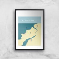 North Sea Art Print - A4 - Black Frame