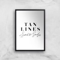 PlanetA444 Tan Lines, Sand and Smiles Art Print - A4 - Black Frame - Sand Gifts