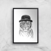 Balazs Solti Tiger In A Hat Art Print - A4 - Black Frame - Hat Gifts