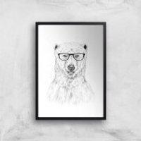 Balazs Solti Polar Bear and Glasses Art Print - A4 - Black Frame - Glasses Gifts