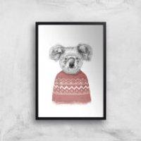 Balazs Solti Koala and Jumper Art Print - A4 - Black Frame
