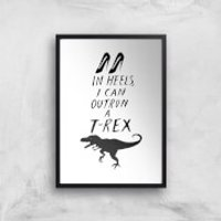 Rock On Ruby In Heels I Can Outrun A T-Rex Art Print - A4 - Black Frame - Heels Gifts