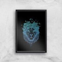 Balazs Solti Lion and Butterflies Art Print - A4 - Black Frame - Butterflies Gifts
