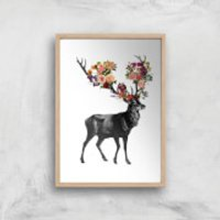 Tobias Fonseca Spring Itself Deer Floral Art Print - A4 - White Frame