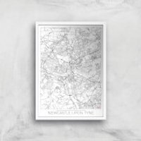 City Art Black and White Outlined Newcastle Map Art Print - A4 - White Frame - Newcastle Gifts