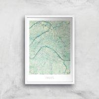 City Art Coloured Paris Map Art Print - A4 - White Frame - Paris Gifts