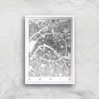 City Art Black and White Paris Map Art Print - A4 - White Frame - Paris Gifts