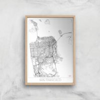 City Art Black and White Outlined San Francisco Map Art Print - A4 - White Frame