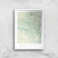 City Art Coloured Newcastle Map Art Print - A4 - White Frame - Newcastle Gifts