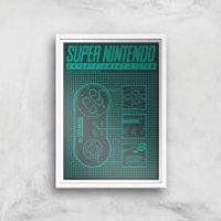 Nintendo SNES Controller Art Print - A4 - White Frame - Nintendo Gifts
