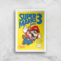 Nintendo Super Mario Bros 3 Art Print - A4 - White Frame