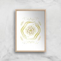 Snakes Art Print - A4 - Wood Frame - Snakes Gifts