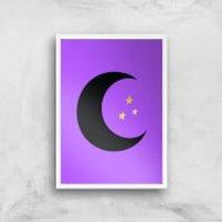 Moon & Stars Art Print - A4 - Wood Frame