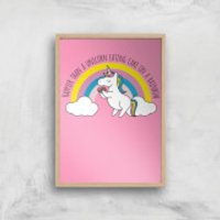 Happier Than A Unicorn Eating Cake Art Print - A4 - Wood Frame - Eating Gifts