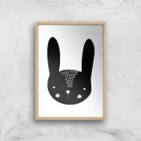 Rabbit Art Print - A4 - Wood Frame