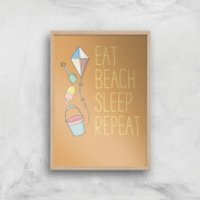 Eat Beach Sleep Repeat Art Print - A4 - Wood Frame - Beach Gifts