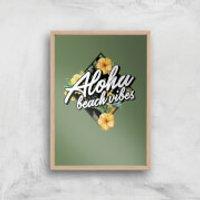 Aloha Beach Vibes Art Print - A4 - Wood Frame - Beach Gifts