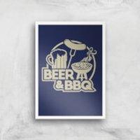 Beer & BBQ Art Print - A4 - Wood Frame