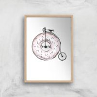 Donut Ride My Bicycle Art Print - A4 - Wood Frame - Bicycle Gifts