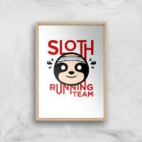 Sloth Running Team Art Print - A4 - Wood Frame - Athletics Gifts