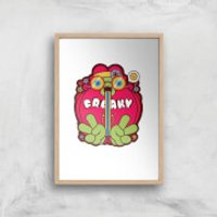 Hippie Psychedelic Cartoon Art Print - A4 - Wood Frame - Hippie Gifts