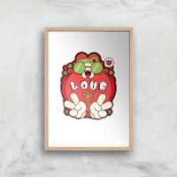 Hippie Love Cartoon Art Print - A4 - Wood Frame - Hippie Gifts