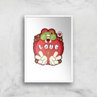 Hippie Love Cartoon Art Print - A4 - Wood Frame