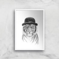 Balazs Solti Tiger In A Hat Art Print - A4 - White Frame