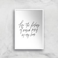 PlanetA444 The Feeling Of Warm Wind In My Hair Art Print - A4 - White Frame - Warm Gifts