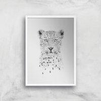 Balazs Solti Leopard Art Print - A4 - White Frame
