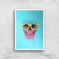 Balazs Solti Skull and Glasses Art Print - A4 - White Frame - Glasses Gifts