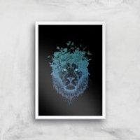 Balazs Solti Lion and Butterflies Art Print - A4 - White Frame - Butterflies Gifts