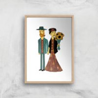 Tobias Fonseca Love Is Art - Frida Kahlo and Van Gogh Art Print - A4 - White Frame