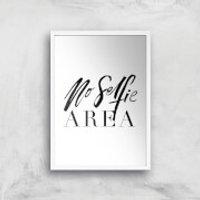PlanetA444 No Selfie Area Art Print - A4 - White Frame - Selfie Gifts