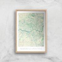City Art Coloured Newcastle Map Art Print - A4 - Wood Frame - Newcastle Gifts