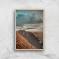 Liam Burleigh Lighthouse Art Print - A4 - Wood Frame